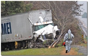 Photo by Anthony Dake   A truck hauling potentially hazardous materials wrecked on Interstate 75 Monday. The accident created heavy traffic through Athens.